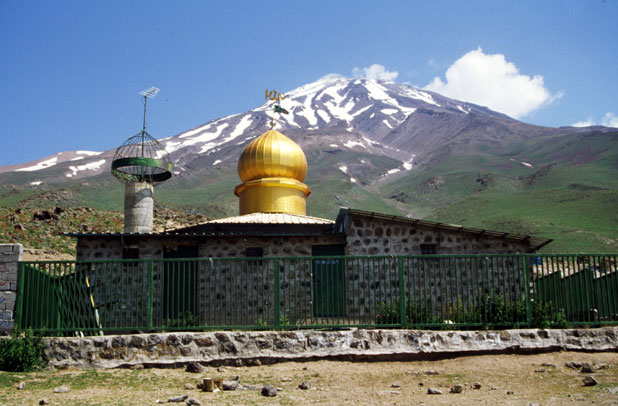 Gusfand Sara - place below Mt Damavand mountain where shelter can be found. Iran.