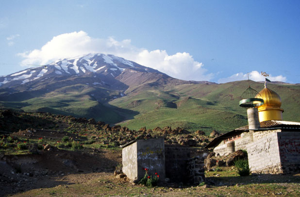 View to the Mt Davamand and Gusfand Sara. Iran.