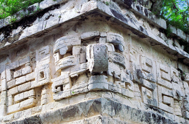 The mask of Chaac, the Mayan rain god, Chichen Itza. Mexico.
