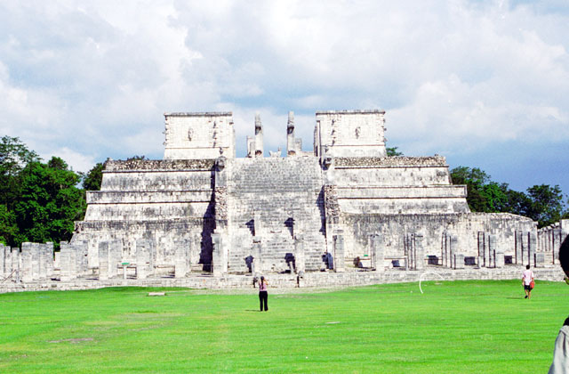 Chichen Itza,Plaza of A Thousand Columns and Temple of the Warriors, built between 900 and 1200 A.D. Mexico.