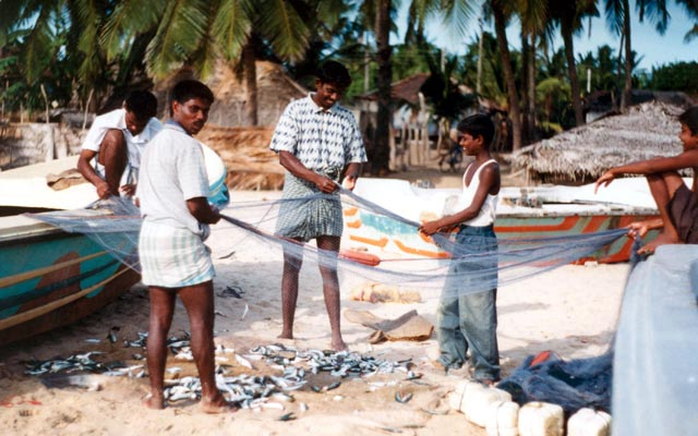 Fishermen on the beach in Arugam Bay. Sri Lanka.