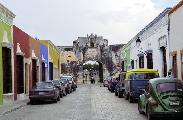 Street at historical center of Campeche city. You can see Puerta de Tierra.  Mexico.