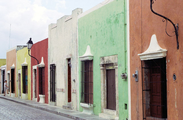 Street at historical center of Campeche city.  Mexico.