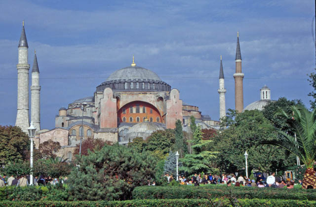 Aya Sofya (Hagia Sophia), Byzantium's greatest building built by Justinian the Great in 537 AD, Istanbul. Turkey.