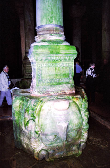 Medusa head, Basilica Cistern, constructed in 532 by Emperor Justinian is 70m wide and 140m long. The roof is supported by 336 collumns. Istanbul. Turkey.