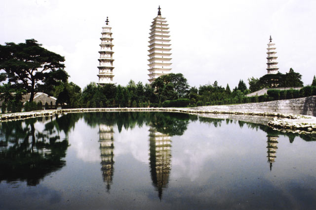 Three pagodas near Dali. China.