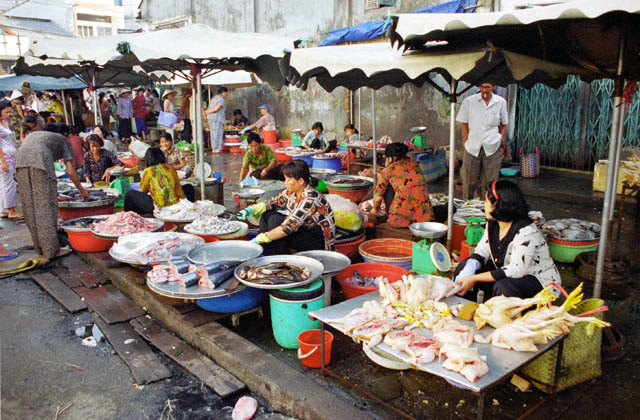 Morning market in Saigon. Vietnam.