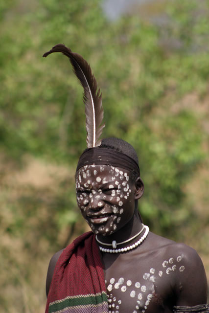 Mursi man. South,  Ethiopia.