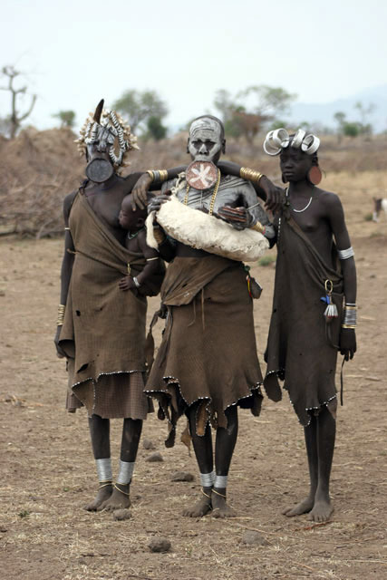 Mursi women. South,  Ethiopia.