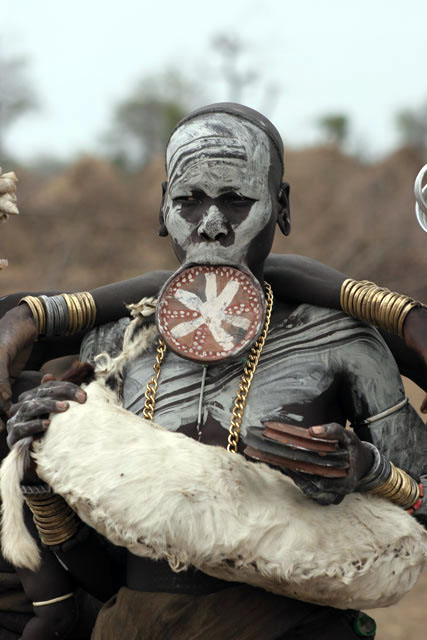 Mursi woman. South,  Ethiopia.