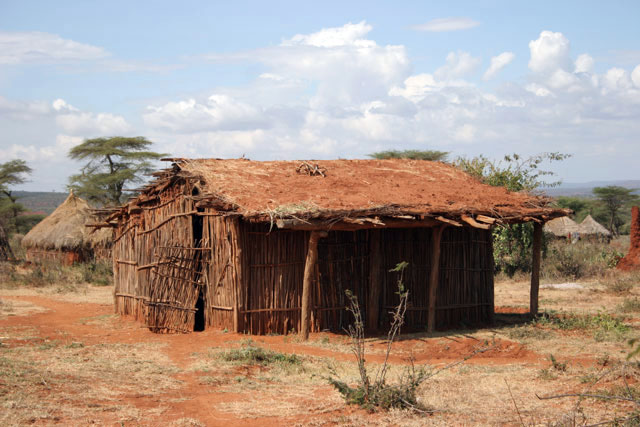 Houses with soil and grass on the roof around Jinka. Perfect for hot days. South,  Ethiopia.