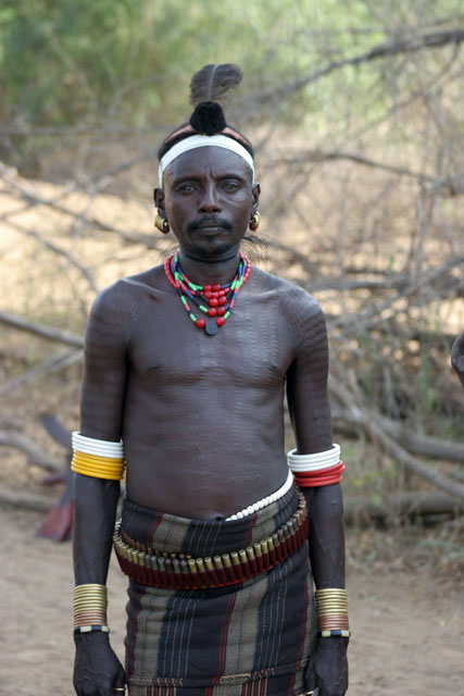 Local man, Murle village. South,  Ethiopia.