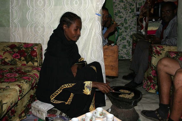 Coffee ceremony, Addis Abeba. North,  Ethiopia.