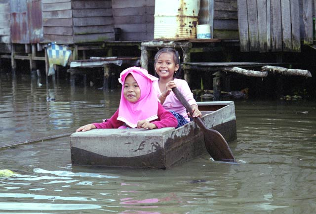 Life on river channels in Banjarmasin. Kalimantan,  Indonesia.