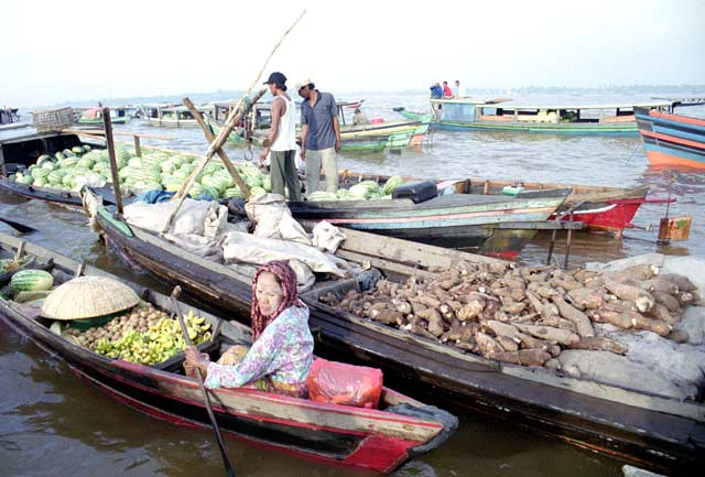 Floating market in Banjarmasin. Kalimantan,  Indonesia.