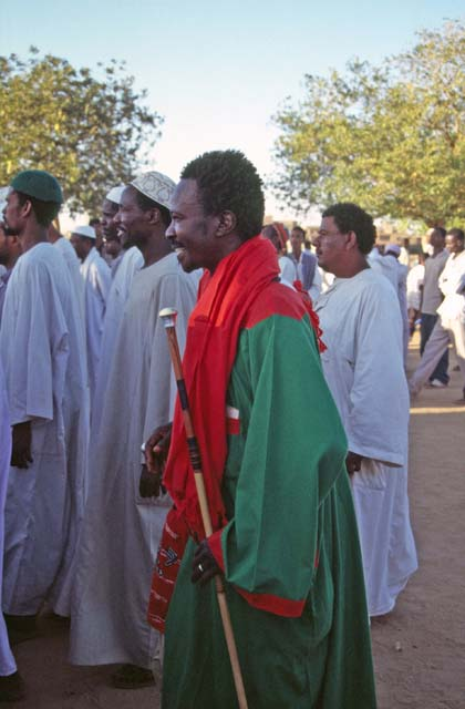 Whirling dervishes are coming. Their color is green. Hamed-an Nil Mosque, Khartoum (Omdurman). Sudan.