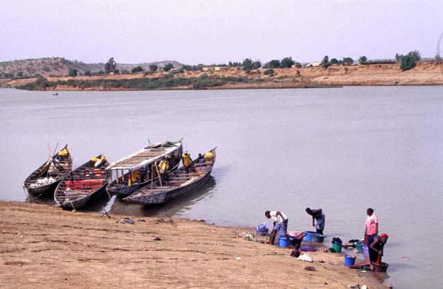 Life near Senegal river and view to Mauritania, Bakel. Senegal.