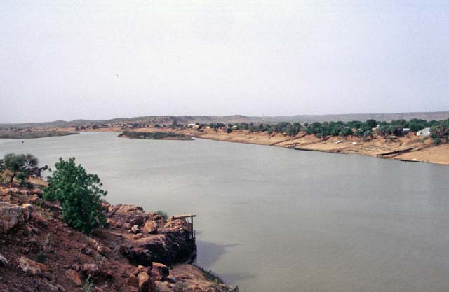 View to Senegal river at Bakel town. Senegal is at right side and Mauritania at left side of the picture. Senegal.