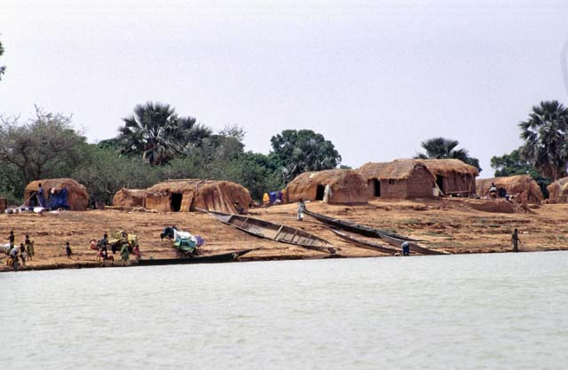 Traditional villages on the banks of Niger river. Mali.