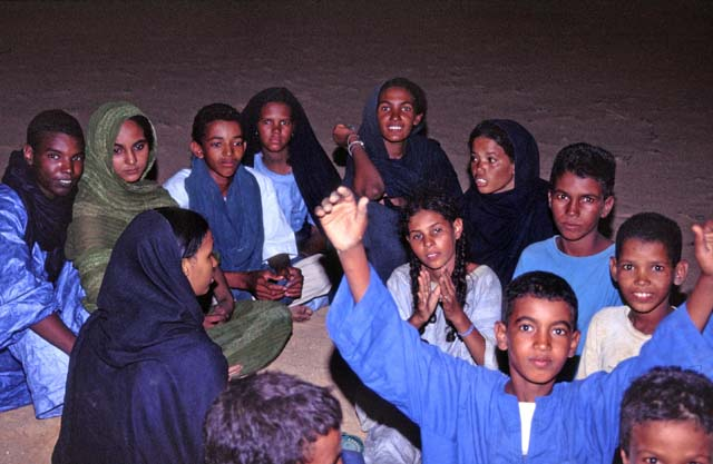 Evening at Tuareg campement. Sahara desert and Adrar des Ifoghas area. Mali.