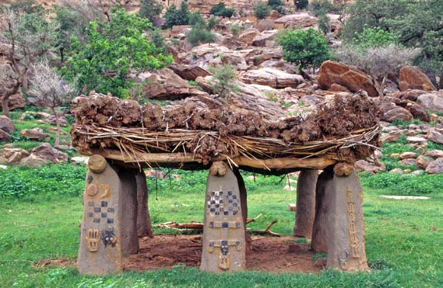 Togu-na, a traditional meeting place for village elders, Ireli village at Dogon country. Mali.