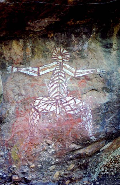 Nabulwinjbulwinj - a dangerous spirit who eats females after striking them with a yam. Kakadu National Park. Australia.