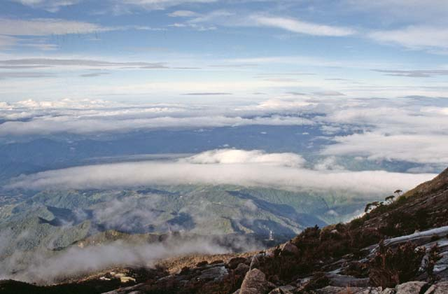 View to the Borneo island from height around 4000 meters. Sabah,  Malaysia.