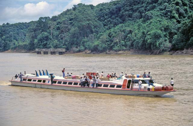 Typical ship on the Rejang river. Sarawak,  Malaysia.