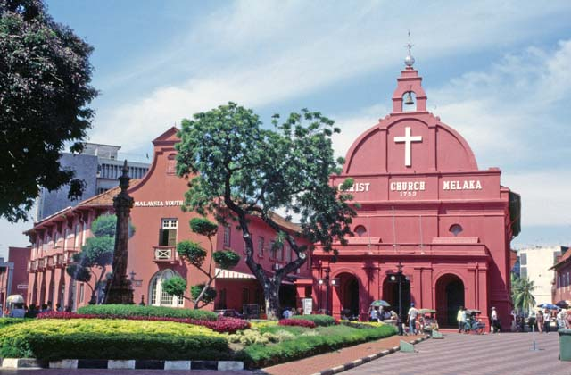 Old christian church at Melaka city. Mainland,  Malaysia.