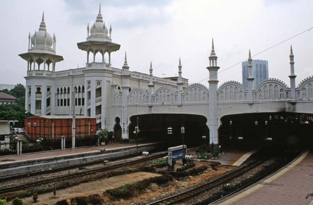 Railway station at Kuala Lumpur city. Is is built at islamic architecture style. Mainland,  Malaysia.