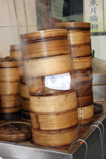 Bamboo dishes used for making food at steam. Hong Kong.