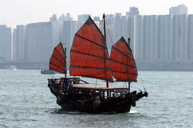 Traditional boat. Hong Kong.