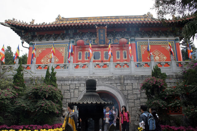 Po Lin Buddhist monastery. Place where Tian Tan Buddha statue is found. Hong Kong.