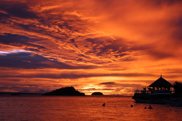 Sunset at Malapascua island. Philippines.