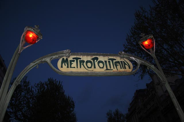 Art nouveau metro entrance at Montmartre, Paris. France.