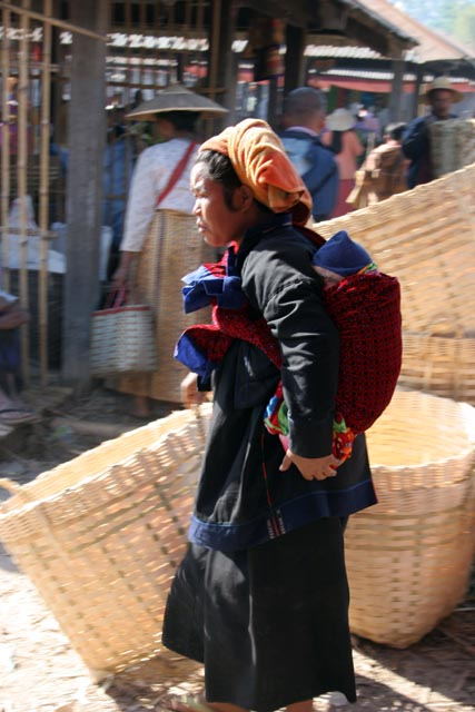 Woman from Pa-O tribe at Inle Lake market. Myanmar (Burma).