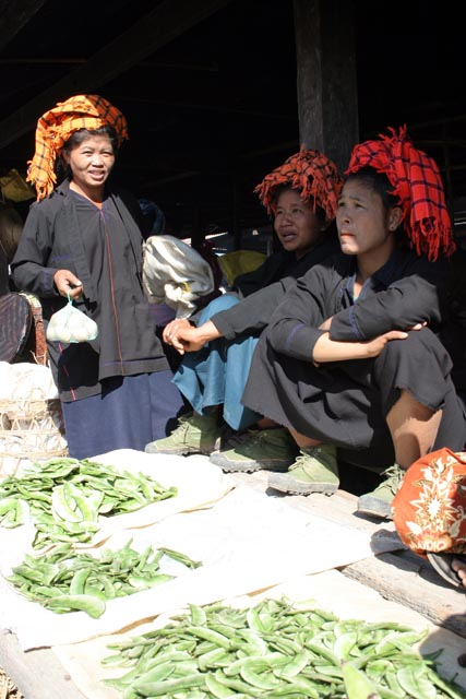 Women from Pa-O tribe at Inle Lake market. Myanmar (Burma).