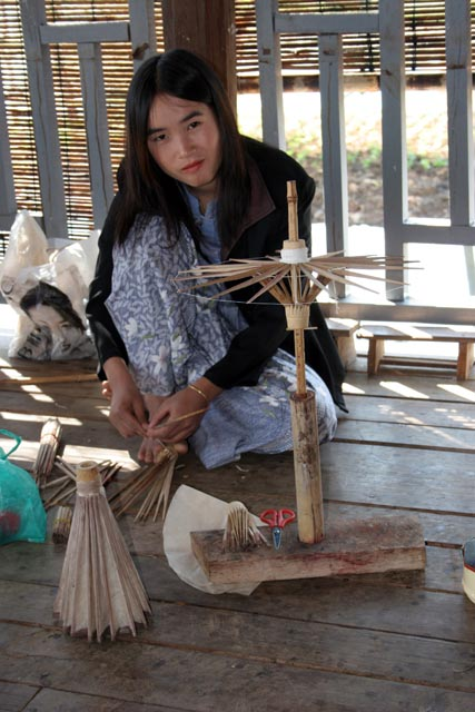 Making umbrellas, Inle Lake. Myanmar (Burma).