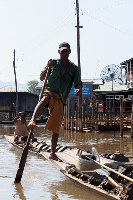 Traditional leg paddling at Inle lake. Myanmar (Burma).