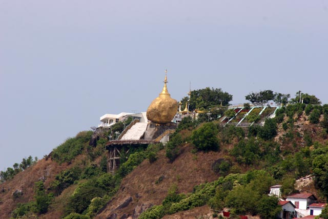 Stupa called Kyaiktiyo (Golden rock). One of the three most sacred places of local Buddhist. Myanmar (Burma).