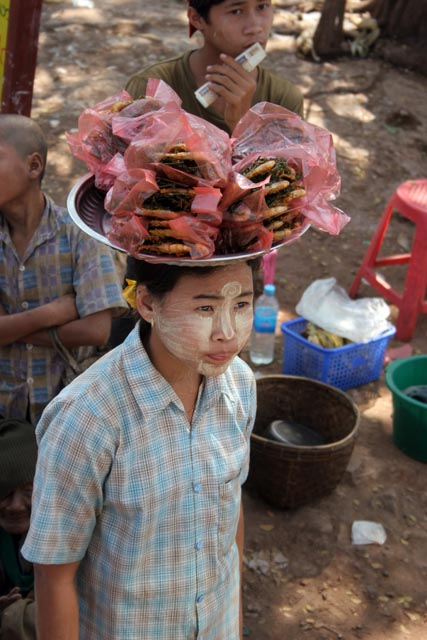 Snack to bus, area south of Yangon. Myanmar (Burma).