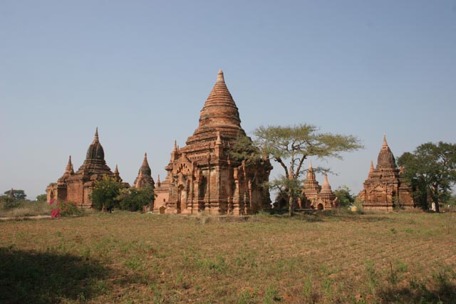 The Temples of Bagan cover an area of 16 square miles. The majority of its buildings were built in the 1000s to 1200s, during the time Bagan was the capital of the First Burmese Empire. Myanmar (Burma).