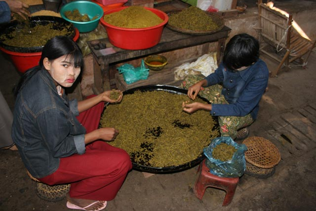 Traditional Burmese sour spices, market at Nyaung U. Myanmar (Burma).