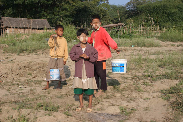 Children at countryside. On the way to Chin State. Myanmar (Burma).