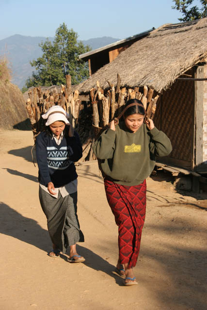 On the street at Mindat village, Chin State. Myanmar (Burma).