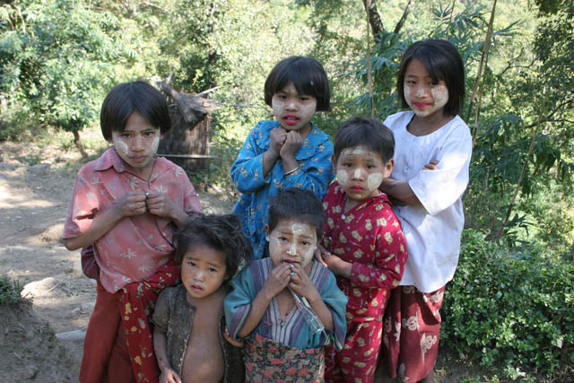 Children at Kyartho village, Chin State. Myanmar (Burma).