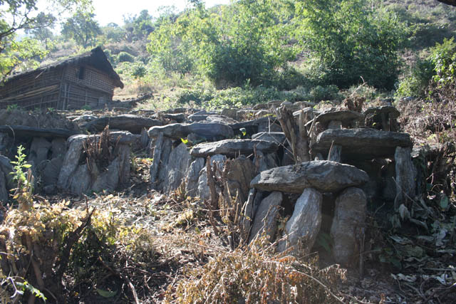 Traditional graves of Chin people. Kyartho village, Chin State. Myanmar (Burma).