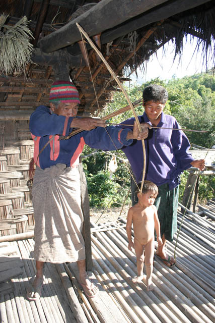 Hunting using bow and arrows is the most used method. Chin State. Myanmar (Burma).