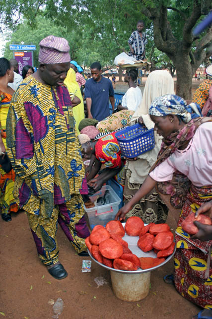 Cheese street sellers. Benin.
