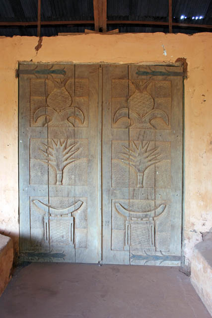 Decorated doors at palace of Dahomey kings at Abomey town. Benin.